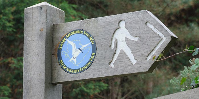 Signpost for hiking tours in North Wales